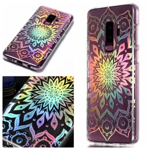 Colorful Laser Carving Patterned TPU Phone Shell for Samsung Galaxy S9 Plus SM-G965 - Unique Flower