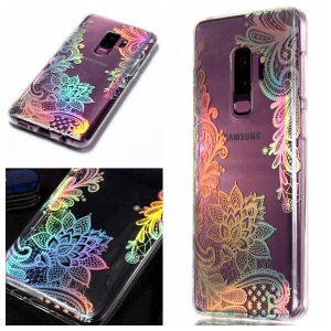 Colorful Laser Carving Patterned TPU Phone Accessory Casing for Samsung Galaxy S9 Plus SM-G965 - Laser Flower