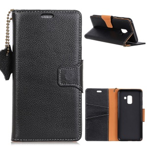 Litchi Skin Genuine Leather Folio Flip Cell Phone Cover for Samsung Galaxy A6 (2018) - Black