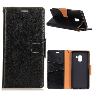 Crazy Horse Texture Genuine Leather Wallet Case for Samsung Galaxy A6 Plus (2018) - Black