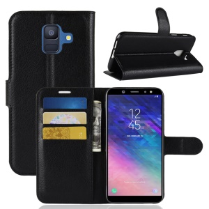 Litchi Skin Leather Wallet Case for Samsung Galaxy A6 (2018) - Black
