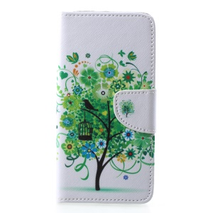 Cross Texture Patterned Wallet Leather Casing for Samsung Galaxy A6 Plus (2018)/A9 Star Lite - Green Tree