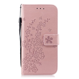 Imprinted Plum Blossom Leather Wallet Stand Case for Samsung Galaxy A8 (2018) - Rose Gold