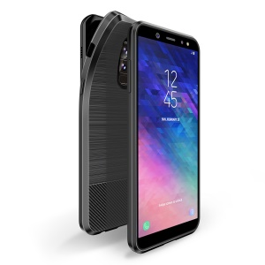 DUX DUCIS MOJO Series Carbon Fibre Brushed TPU Gel Cover for Samsung Galaxy A6 Plus (2018) / A9 Star Lite - Black