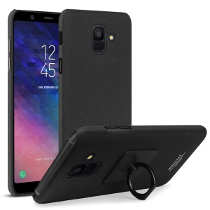 IMAK Cowboy Shell PC Case with Ring Holder + Screen Film for Samsung Galaxy A6 (2018) - Matte Black