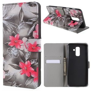 Pattern Printing PU Leather Magnetic Wallet Stand Cover for Samsung Galaxy A6 (2018) - Red Flower