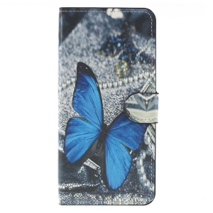 Pattern Printing PU Leather Magnetic Wallet Stand Protective Cover for Samsung Galaxy A6 (2018) - Purple Butterfly