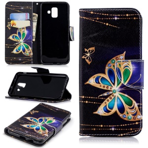 For Samsung Galaxy A6 (2018) Pattern Printing Leather Stand Mobile Casing - Butterfly with Diamond