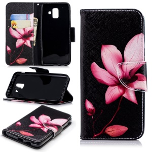 For Samsung Galaxy A6 (2018) Pattern Printing Leather Wallet Mobile Phone Case - Flower Pattern