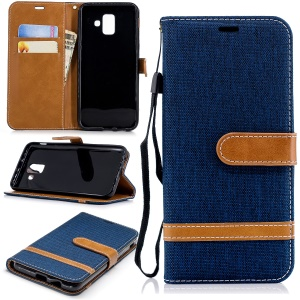 Contrast Color Jean Cloth PU Leather Mobile Cover for Samsung Galaxy A6 (2018) - Dark Blue