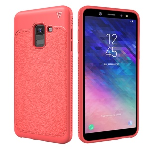 LENUO for Samsung Galaxy A6 (2018) Litchi Grain TPU Back Phone Cover - Red