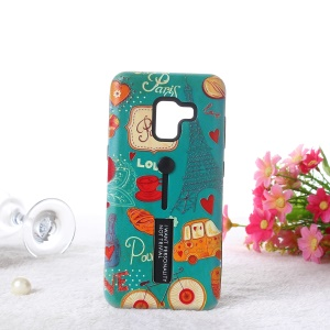 Embossment Cartoon Pattern TPU + PC Combo Cell Phone Shell with Kickstand for Samsung Galaxy A8 (2018) - Paris