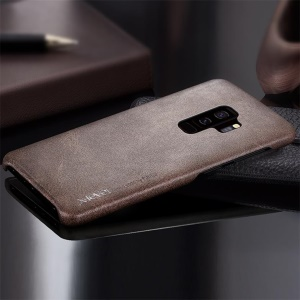 X-LEVEL Vintage Leather Coated PC Phone Casing for Samsung Galaxy S9 Plus SM-G965 - Coffee