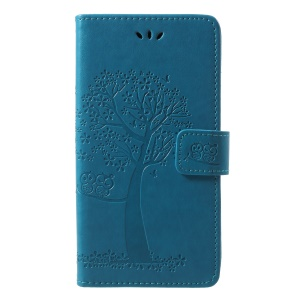 Imprint Tree Owl Pattern Card Holder Leather Case Cover Accessory for Samsung Galaxy J4 (2018) - Blue