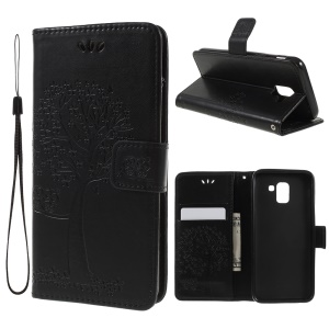 Imprint Tree Owl Wallet PU Leather Case with Lanyard for Samsung Galaxy J6 (2018) - Black