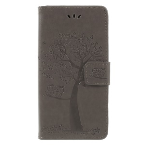 Imprint Tree Owl Wallet PU Leather Cover with Lanyard for Samsung Galaxy J6 (2018) - Grey