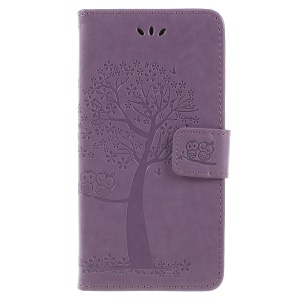 Imprint Tree Owl Wallet PU Leather Case Protector for Samsung Galaxy J6 (2018) - Light Purple