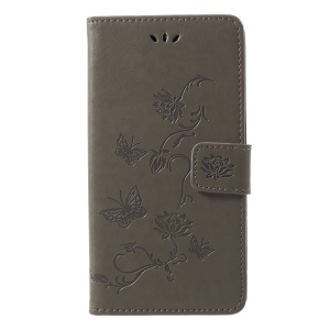 Imprint Butterfly Flower Leather Wallet Mobile Flip Cover for Samsung Galaxy J4 (2018) - Grey