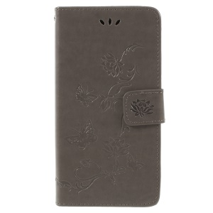 For Samsung Galaxy J6 (2018) Imprint Butterfly Flower Wallet Stand Leather Cover Shell - Grey