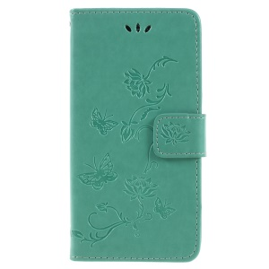For Samsung Galaxy J6 (2018) Imprint Butterfly Flower Wallet PU Leather Mobile Phone Cover - Green