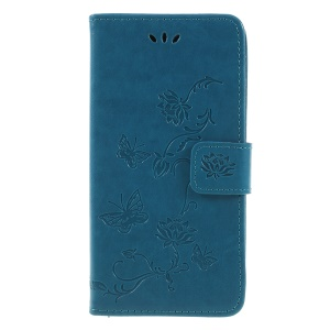 For Samsung Galaxy J6 (2018) Imprint Butterfly Flower Wallet Stand Leather Shell Case - Blue