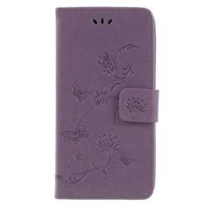 For Samsung Galaxy J6 (2018) Imprint Butterfly Flower Wallet Stand Leather Case Protector - Light Purple