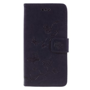 For Samsung Galaxy J6 (2018) Imprint Butterfly Flower Wallet Stand Leather Phone Casing Cover - Dark Purple