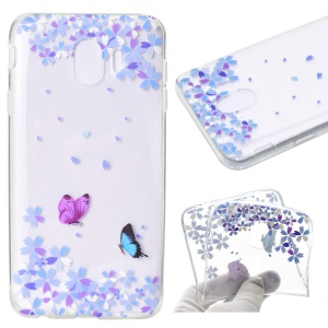 Pattern Printing Soft TPU Protective Cover for Samsung Galaxy J4 (2018) - Butterfly and Flower