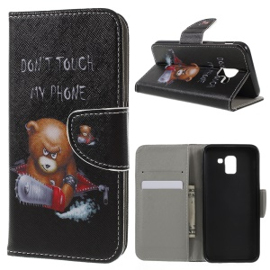 Pattern Printing Wallet Stand Flip Leather Case for Samsung Galaxy J6 (2018) - Angry Bear and Warning