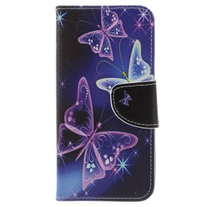 Pattern Printing Wallet Stand PU Leather Protector Shell for Samsung Galaxy J6 (2018) - Beautiful Butterfly
