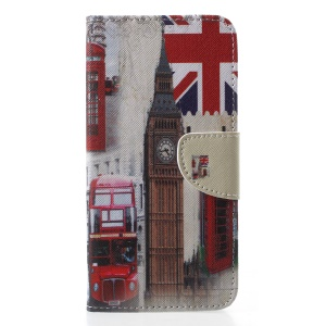 Cross Texture Pattern Printing Leather Wallet Stand Shell for Samsung Galaxy J4 (2018) - London Elements