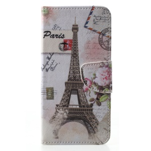 Cross Texture Pattern Printing Leather Wallet Stand Shell Cover for Samsung Galaxy J4 (2018) - Eiffel Tower & Stamp
