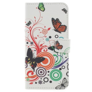 Pattern Printing Wallet Stand Leather Mobile Cover Case for Samsung Galaxy J6 (2018) - Butterfly and Circle