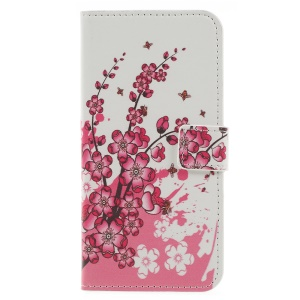 Pattern Printing Wallet Stand Leather Flip Protective Case for Samsung Galaxy J6 (2018) - Plum Blossom