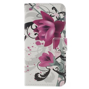 Pattern Printing Wallet Stand Leather Protector Shell for Samsung Galaxy J6 (2018) - Kapok Flower