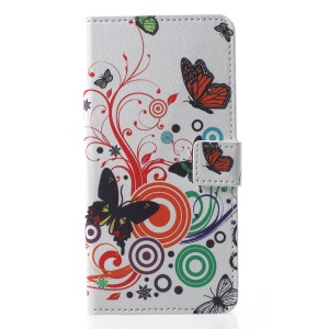 Pattern Printing Leather Wallet Magnetic Protective Cover with Stand for Samsung Galaxy J4 (2018) - Butterfly and Circles