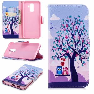 Pattern Printing Wallet Stand Leather Mobile Case for Samsung Galaxy A6 Plus (2018) / A9 Star Lite - Owls on Swing
