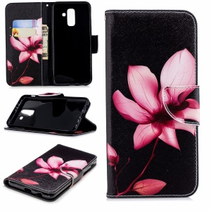 Pattern Printing Wallet Stand Leather Cover Case for Samsung Galaxy A6 Plus (2018) / A9 Star Lite - Flower Pattern