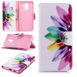 Pattern Printing Leather Wallet Stand Case for Samsung Galaxy A6+ (2018) - Colorized Flower