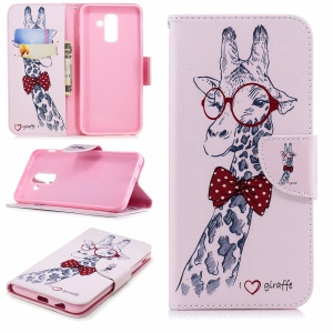 Pattern Printing Leather Wallet Stand Cover Case for Samsung Galaxy A6+ (2018) - Giraffe Wearing Glasses