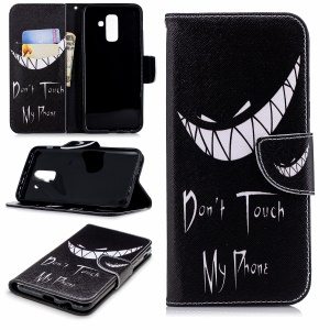 Patterned Leather Wallet Stand Case Accessory for Samsung Galaxy A6+ (2018) - Angry Face and Warning Words