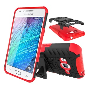 Tyre Pattern PC + TPU Protective Case for Samsung Galaxy J3 / J3 (2016) with Kickstand - Red