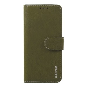KAIYUE Wallet Stand Genuine Leather Phone Case for Samsung Galaxy S9 SM-G960 - Army Green