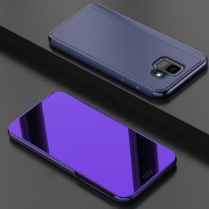 Electroplating Mirror Surface View Window Leather Stand Accessory Shell for Samsung Galaxy A6 (2018) - Dark Purple