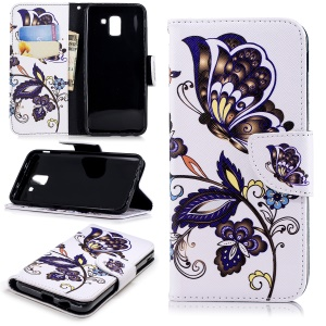 Pattern Printing Leather Wallet Case for Samsung Galaxy J6 (2018) - Butterfly Pattern