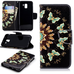 Pattern Printing Magnetic Leather Stand Cover for Samsung Galaxy J6 (2018) - Colorized Butterfly
