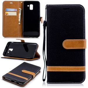 Jeans Cloth Texture Wallet Stand Leather Case for Samsung Galaxy J6 (2018) - Black