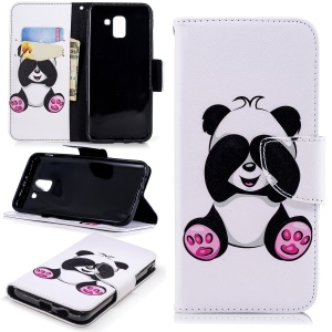 Pattern Printing Leather Wallet Stand Case for Samsung Galaxy J6 (2018) - Cute Panda