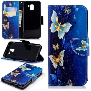 Pattern Printing Leather Wallet Stand Cover Protector for Samsung Galaxy J6 (2018) - Gold and Blue Butterfly