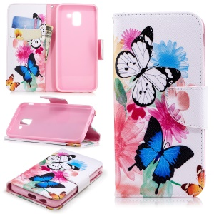 Pattern Printing Leather Wallet Case for Samsung Galaxy J6 (2018) - Vivid Butterflies